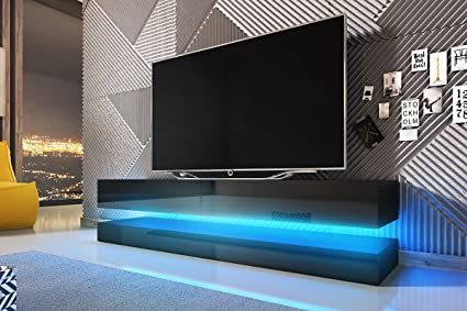 Pensile Porta Tv Sospeso.Aviator Mobiletto Porta Tv Sospeso Supporto Tv Sospeso A Parete 140 Cm Nero Opaco Pannelli Frontali Nero Lucido Con Luci Led Blu