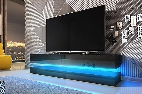 Aviator - Mobiletto porta TV sospeso / Supporto TV sospeso a parete (140  cm, nero opaco / pannelli frontali nero lucido con luci LED blu)