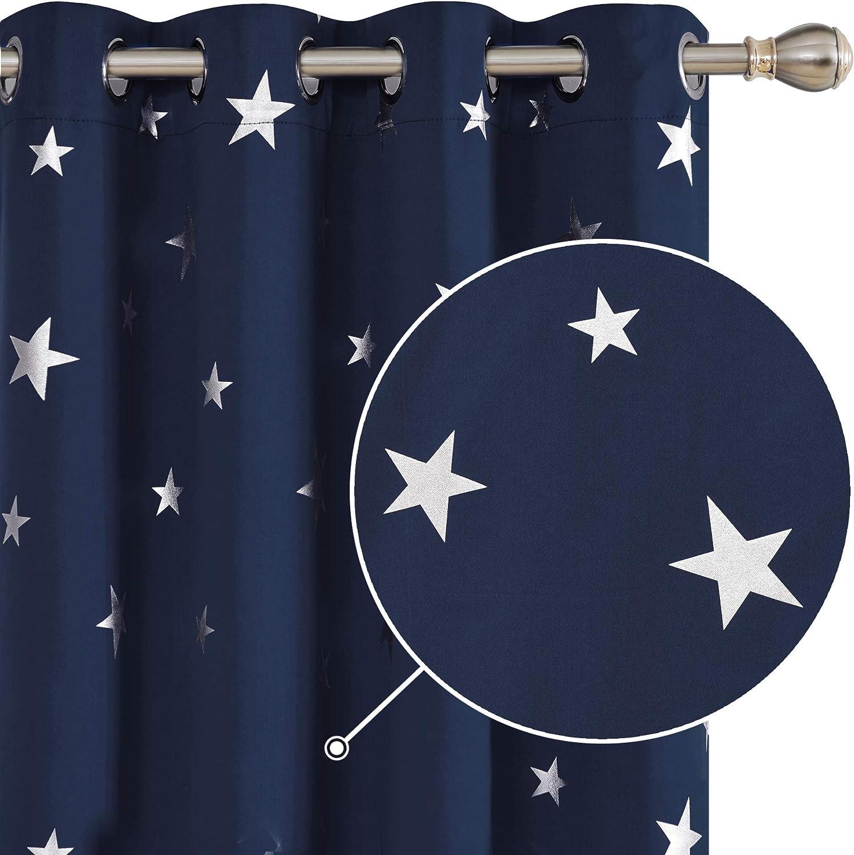 Deconovo Lot de 2 Rideaux /à Oeillets Occultant Isolant Thermique Motif Etoile 132x214cm Bleu Marine