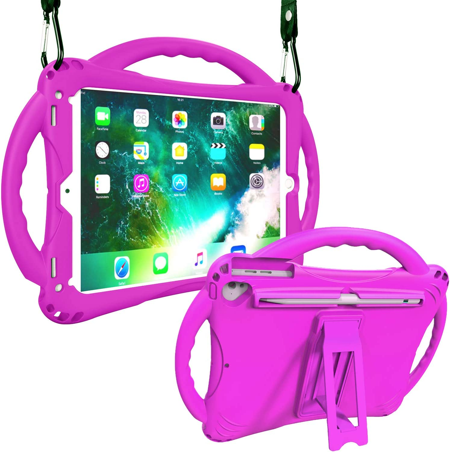 Adocham New iPad 9.7 Inch 6th/5th Generation 2018/2017 Case with Apple Pencil Holder, Lightweight and Shockproof Case with Kickstand for 6th/5th Gen, also Fits for iPad Pro 9.7, iPad Air 1/2(Purple)