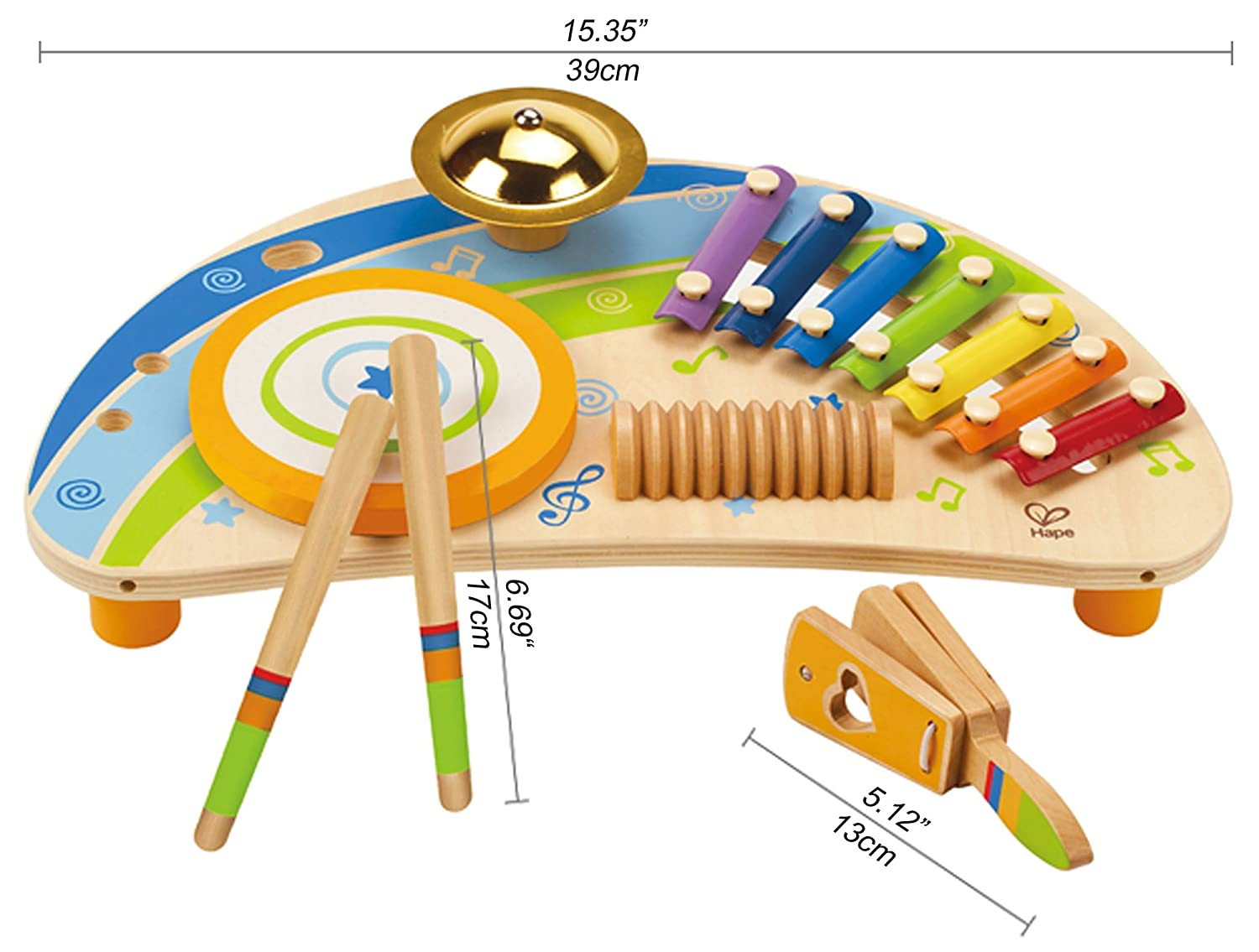 Award Winning Hape Mighty Mini Band Wooden Percussion Instrument E0315