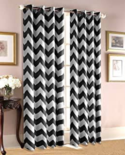 Ace 21 Chevron Zig Zag Print Insulated 100% Thermal Blackout Window Grommet  Curtain Panel (