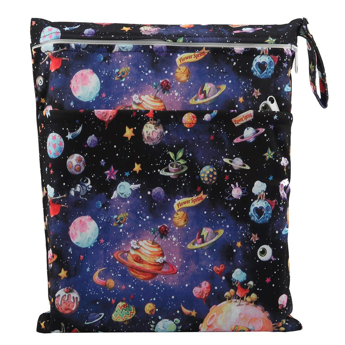 Rainbow Sigzagor Medium Wet Dry Bag Baby Cloth Diaper Nappy Insert Bag Reusable Washable with Two Zippered Pockets