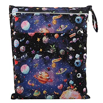 Purple Butterfly Sigzagor Medium Wet Dry Bag Baby Cloth Diaper Nappy Insert Bag Reusable Washable with Two Zippered Pockets