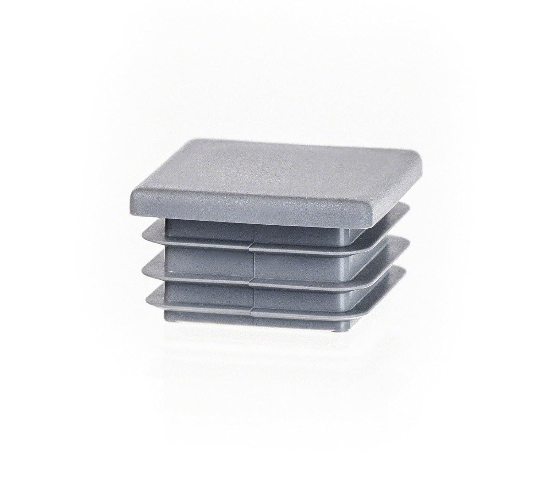 5 pcs. Bouchon pour tuyau carré 50x50 gris plastique Capuchon Bouchons