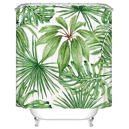 Amazon Goodbath Green Leaf Shower Curtains Tropical Palm