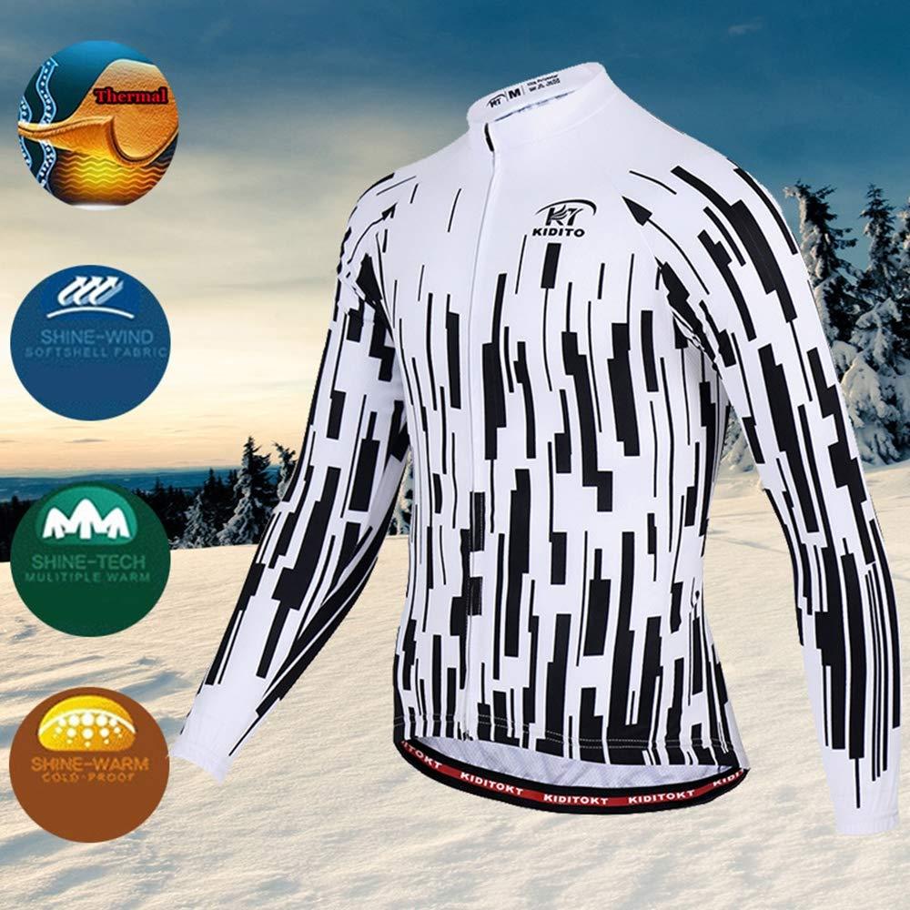 Pantalon rembourr/é 3D HWQ V/êtements de Cyclisme pour Hommes Costume Hiver Thermique Polaire Sportswear Ensemble Manches Longues Coupe-Vent en Jersey Manteau Veste