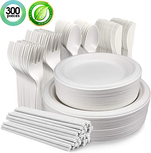 Amazon.com: Vajilla desechable biodegradable de 300 piezas ...