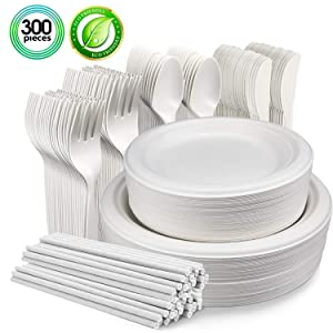 300Pcs Biodegradable Disposable Dinnerware Set, Microwavable Eco-Friendly Sugarcane Plates, Compostable Cornstarch Cutlery, Forks, Knives, Spoons and Paper Straws for Party, BBQ, Picnic (50 Guest)