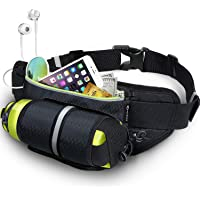 MYCARBON Fanny Pack Waist Pack with Water Bottle Holder,Waterproof Running Belt for Men Women, Reflective Hydration Belt for Running Hiking Travelling Black Fanny Bag