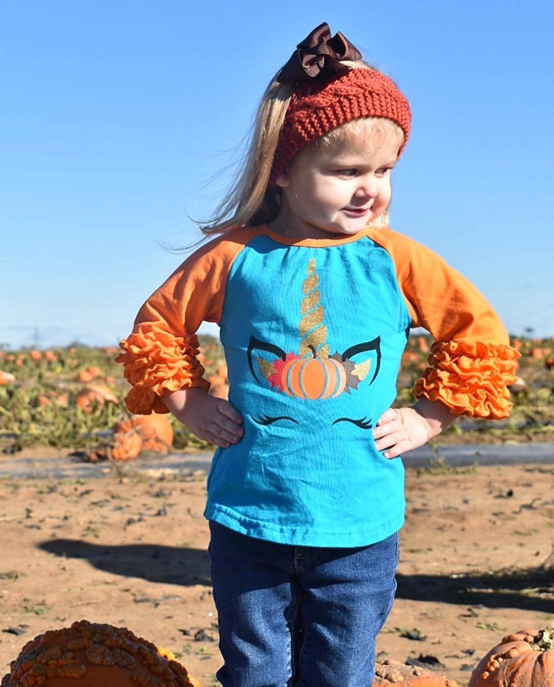 So Sydney New Toddler /& Girl Fall /& Winter Holiday Sparkle Ruffle Raglan T-Shirt