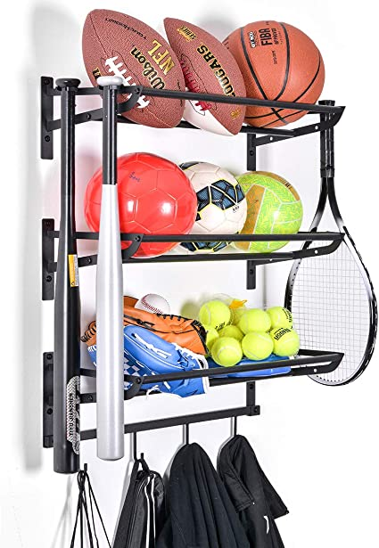 Amazon Com Sports Equipment Storage Rack For Baseball Basketball Football Badminton Golf Yoga Exercise Balls Four Badminton Tennis Hold 3 Separate Storage Rack 4 Hooks For Fences And Concrete Sports Outdoors