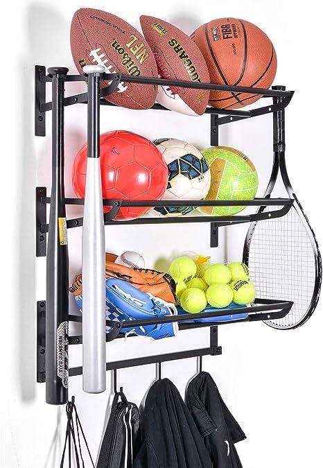 Made of Sturdy Iron Black ANTOPY Sports Equipment Storage Rack Garage Ball Storage Rack Wall Mount Sports Gear Organizer with Hooks Basketball Football Holder Shelf Adjustable Rod 2 Racks
