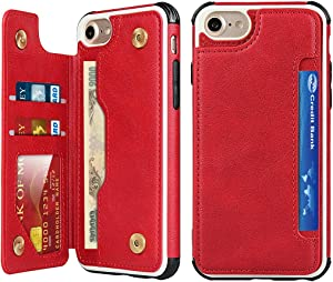 Zouzt Case for iPhone se 2020 Wallet Case iPhone 8 iPhone 7 Case with Card Holder Hand Strap Premium PU Leather Case Kickstand,Double Magnetic Durable Shockproof Phone Back Cover (red)