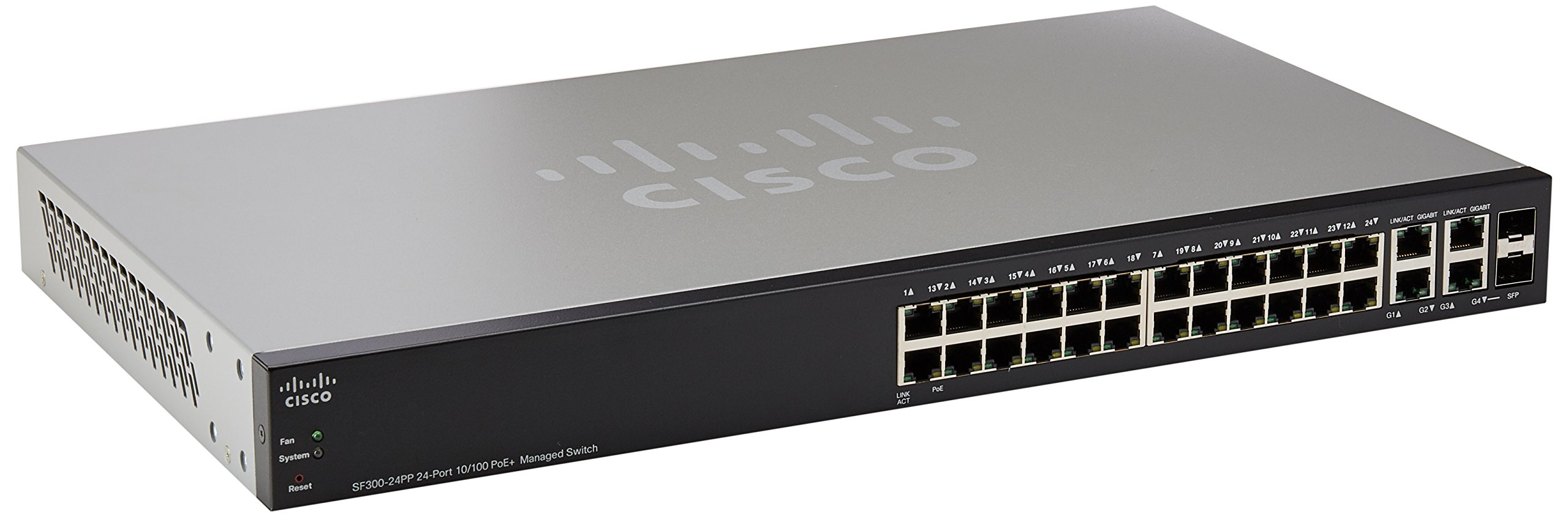 CISCO SF300-24PP 24-Port 10/100 PoE+ Managed Switch w/Gig Uplinks (SF300-24PP-K9-NA) by Cisco