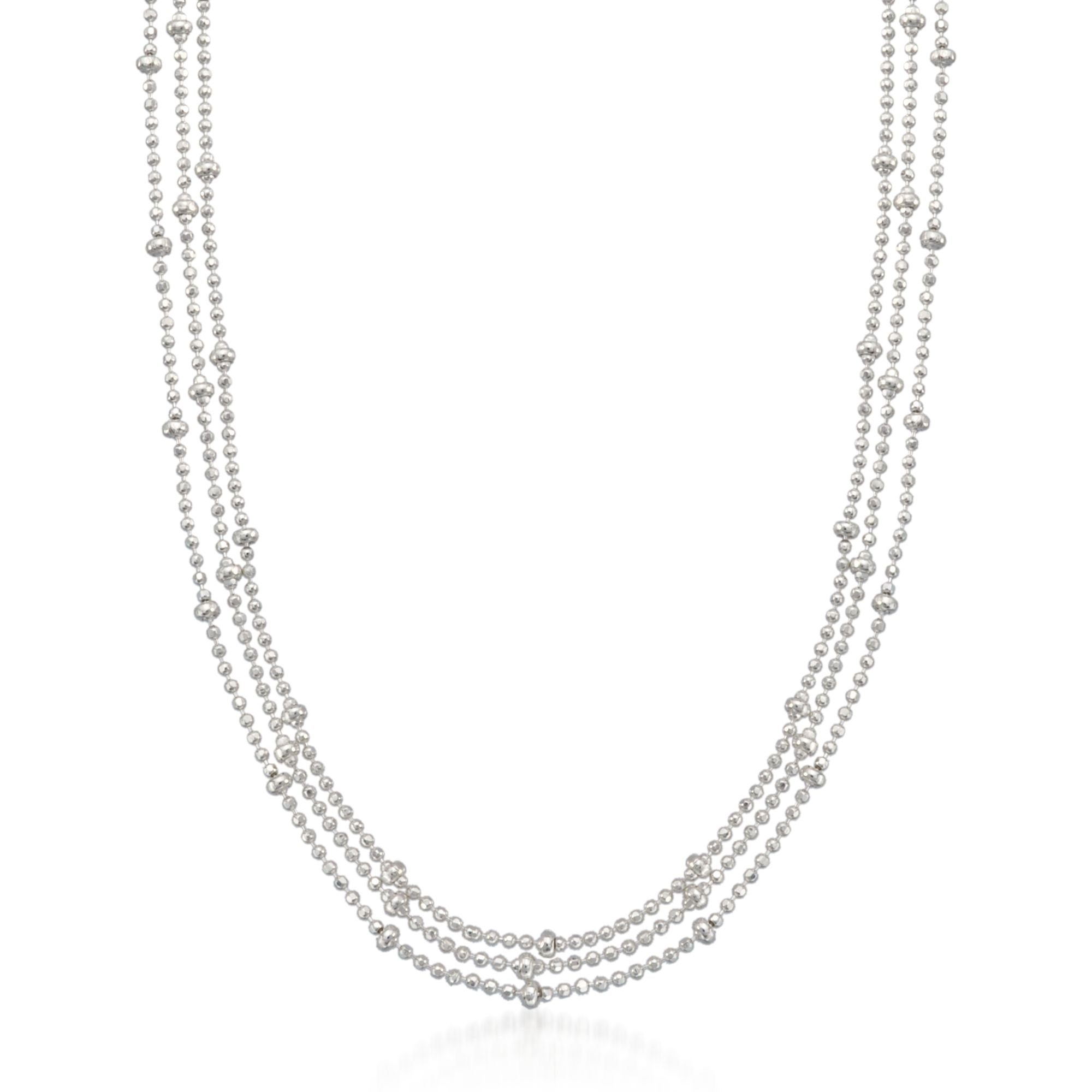 Ross-Simons Italian Sterling Silver Three-Strand Bead Chain Necklace