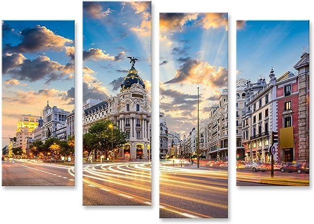 islandburner, Cuadro Cuadros Madrid, Paisaje Urbano de España en la Calle de Alcalá y Gran Vía. PFU-4erP-DE: Amazon.es: Hogar
