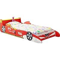 IB-Style - Lit Voiture Speedy Racer pour Enfant - Formula 1 Rouge 190 x 90 cm avec Aile Arrière comme Une Table de Chevet et Lattes de sommier Inclus - Chambre d'enfant