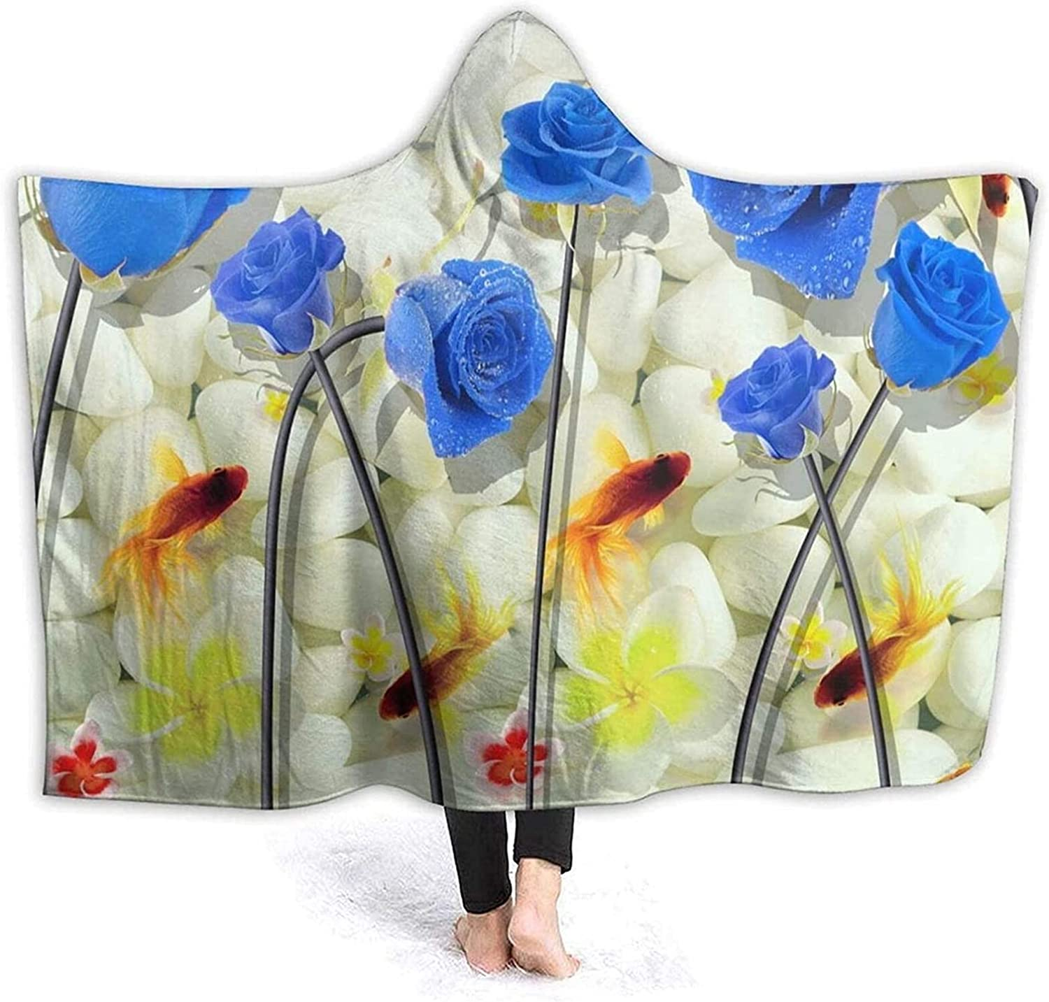 Blue Roses Hooded Throw Blanket, 3D White Stones Goldfish Beautiful Flower Bloom Garden Nature Warm Soft Fleece Wearable Blanket for Sofa Couch Bedroom 50