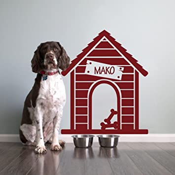 Casa de perro etiqueta de la pared del vinilo nombre personalizado woooowltd nombre del perro Mascotas wallkraft etiqueta de la pared decoración para pared ...