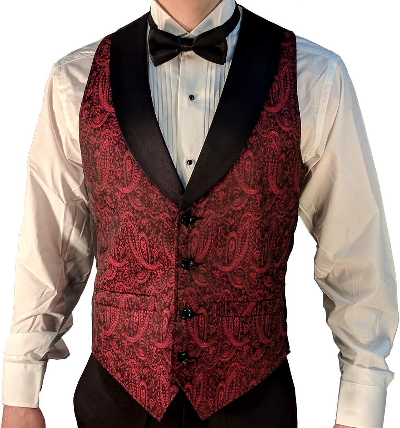 Mens Formal Tuxedo Vest /& Bow-Tie Set in Burgundy Paisley