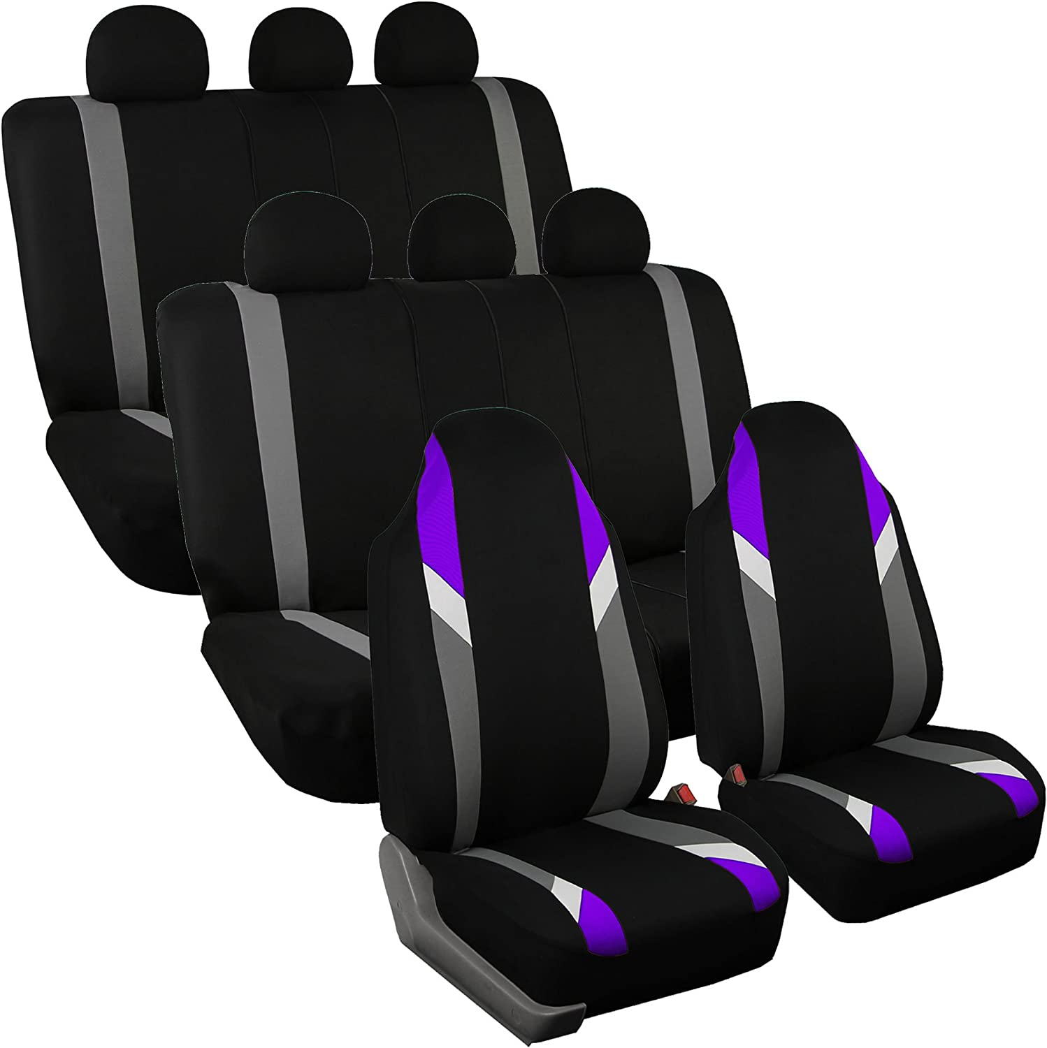 FH Group FB133128 Three Row- Premium Modernistic Seat Covers Purple/Black- Fit Most Car, Truck, SUV, or Van