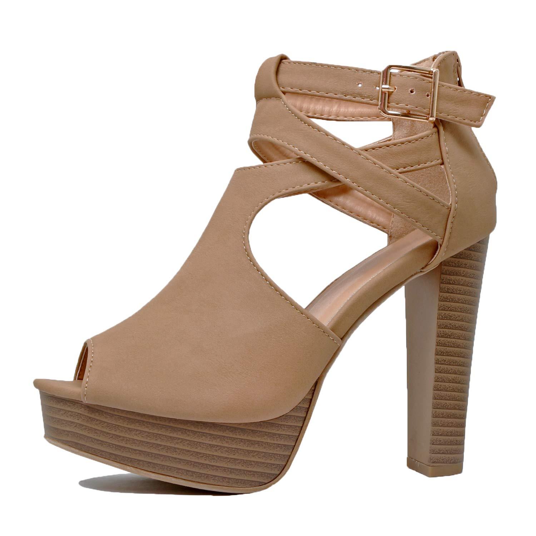 df0114c407f Guilty Shoes Womens Cutout Gladiator Ankle Strap Platform Fashion High Heel  Stiletto Sandals Heeled Sandals (8 B(M) US, Tanv2 Pu)
