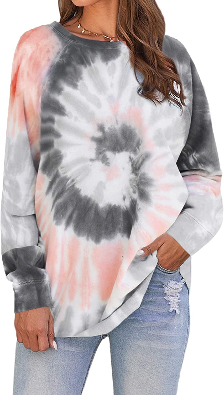 SWEET POISON Womens Tie Dye Loose Pullover Sweatshirt Long Sleeve Crewneck Tops