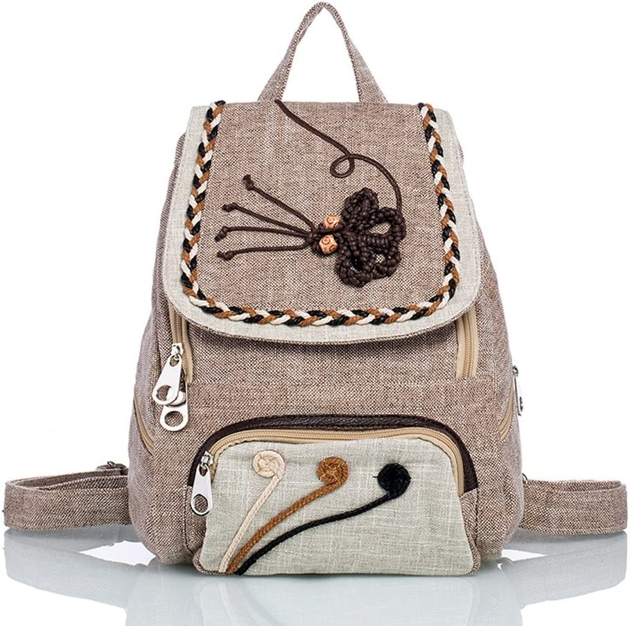 CJH Literary Folk Style Backpack Large Capacity Canvas Woven Wild Features Backpack Female