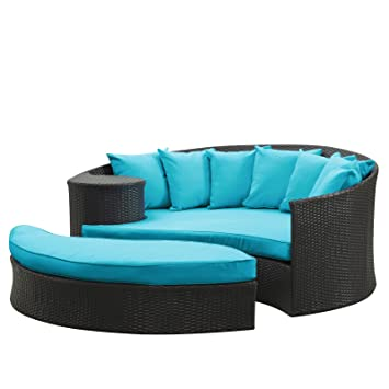 Modway Taiji Outdoor Wicker Patio Daybed With Ottoman In Espresso With  Turquoise Cushions