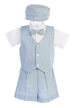 5dc282fa0 Amazon.com: Gigi's Classy Kids Blue Gray Khaki Boys Cotton Linen Vest Shorts  Set Outfit Hat Baby Toddler Wedding Easter Party: Clothing