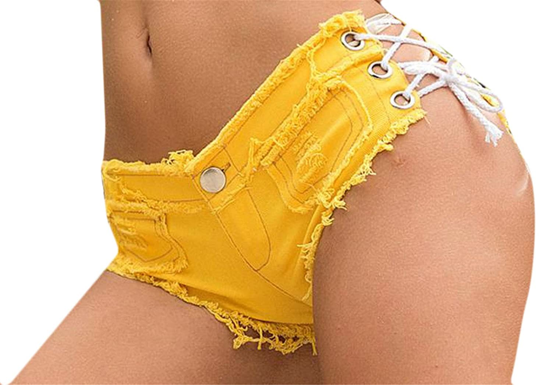 Fulok Womens Low Waist Lace Up Bandage Solid Hot Club Denim Shorts