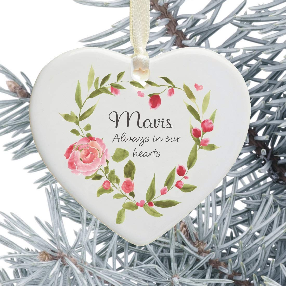 In Loving Memory Personalised Remembrance Heart Christmas Tree Decoration Pink Floral Heart Design