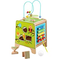 Lucy&Leo Forest Adventure Activity Cube Wood - Solid Toy Set with Xylophone, Bead Maze, Labyrinth, Learn-to-Count Spin…