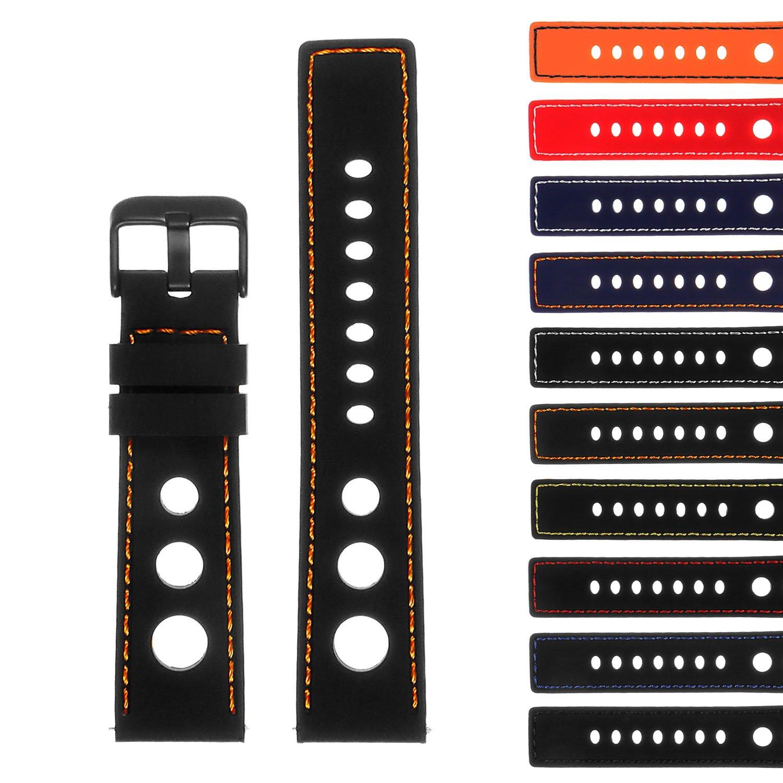 StrapsCoゴムGTラリーレーシングWatch Band withブラックバックル – クイックリリースストラップ – 18 mm 20 mm 22 mm 24 mm 18mm ブラック&オレンジ  ブラック&オレンジ 18mm B0785T92ZG