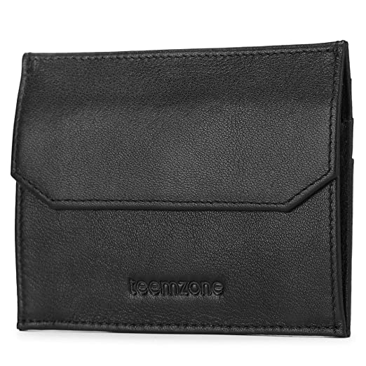 0407a9161f26 Teemzone RFID Small Wallet for Men Credit Card Holder Minimalist Coin Wallet  (Black)