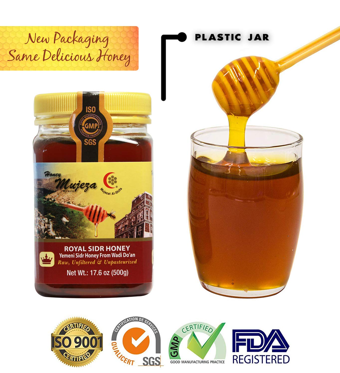 Royal Honey (Authentic Yemen Sidr Honey) Wadi Dou'an, Unheated Unfiltered Unprocessed 100% Natural Raw Honey Plastic jar (Different Sizes Available) (500g / 17.6 oz)