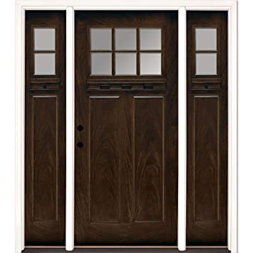 Beau Craftsman 6 Lite Clear Stained Chestnut Mahogany Fiberglass Entry Door With  Sidelites
