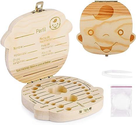 Spanish texto bebé dientes caja, Aitsite save cajas de madera personalizada caja de recuerdos de hoja caduca, personalizar personalizada bebé dientes caja (Chico): Amazon.es: Bebé