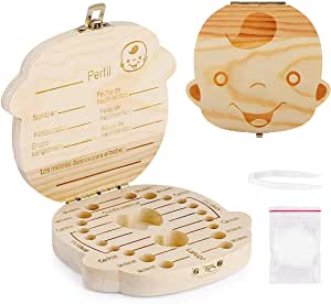 Spanish texto bebé dientes caja, Aitsite save cajas de madera personalizada caja de recuerdos de hoja caduca, personalizar personalizada bebé dientes ...