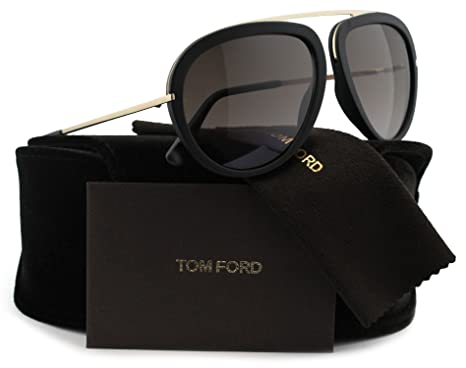 eff8005f2880 Amazon.com  TOM FORD FT0452 Stacy Aviator Sunglasses Matte Black w Brown  Gradient (02T) TF 452 02T 57mm Authentic  Clothing