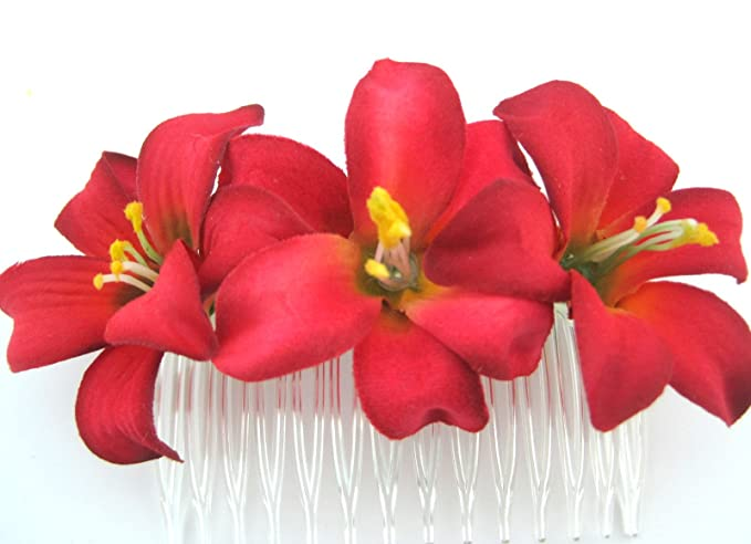 Amazon triple 2 red lily silk flower hair comb clothing triple 2quot red lily silk flower hair comb mightylinksfo