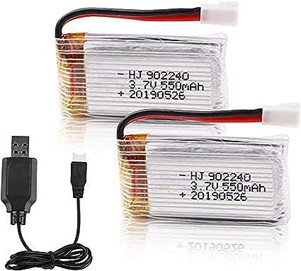 2PCS 1s 3,7V 650mAh Lipo Akku mit USB Ladegerät für RC Syma X5 Serial UAV Drone