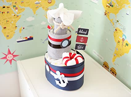 Amazon Com Baby Boy Nautical Diaper Mini Boat Cake Baby Shower