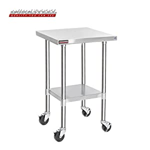 "DuraSteel Stainless Steel Work Table 30"" x 18"" x 34"" Height w/ 4 Caster Wheels -Food Prep Commercial Grade Worktable - NSF Certified - Good For Restaurant, Business, Warehouse, Home, Kitchen, Garage"