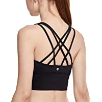 CRZ YOGA Women's Medium Support Strappy Back Wirefree Removable Cups Longline Yoga Sports Bra