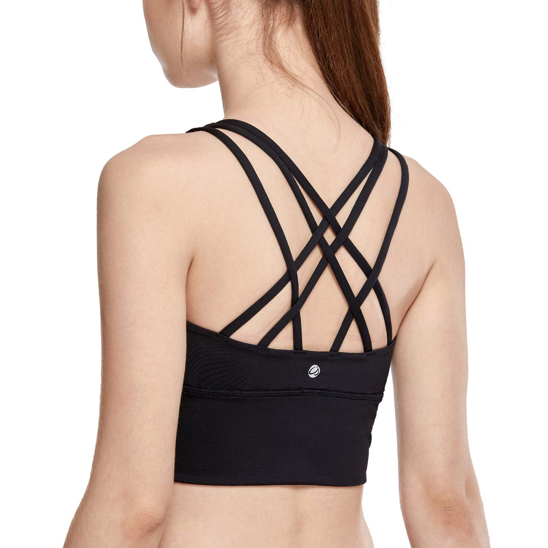 CRZ YOGA Strappy Sports Bras for Women Longline Wirefree Padded Medium Support Yoga Bra Top Black XL by CRZ YOGA