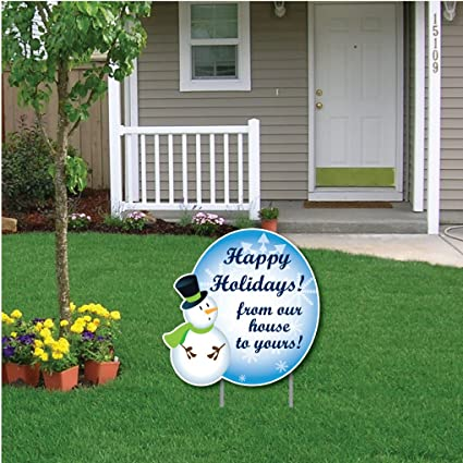 Christmas Lawn Decorations.Victorystore Yard Sign Outdoor Lawn Decorations Snowman Happy Holidays Message Christmas Lawn Display Yard Sign Decoration With 2 Ez Stakes