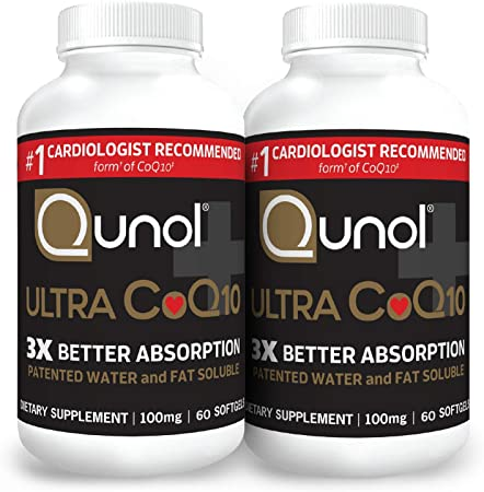 Qunol Ultra CoQ10 100mg 3X Better Absorption Patented Water and Fat Soluble Natural Supplement Form Coenzyme Q10 Antioxidant for Heart Health Packs Softgels, 120 Count