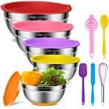 Mixing Bowls with Airtight Lids, 10 pcs Stainless Steel Nesting Bowls Set with Non-Slip Silicone Bottom – Size 2QT, 2…
